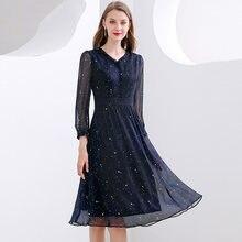 Tylko Plus niebieski szyfonu kobiety sukienka moda wiosna jesień Slim elastyczny, wysoki talia drukuj kolano długość Party sukienki A-Line 2021