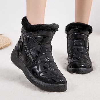Wodoodporne buty śniegowe damskie buty zimowe 2020 nowe ciepłe buty damskie buty zimowe damskie buty do kostki damskie botki Botas Mujer 43 tanie i dobre opinie Quanzixuan CN (pochodzenie) Syntetyczny ANKLE zipper graffiti K17J3 Dla dorosłych Mieszkanie z Podstawowe Krótki pluszowe