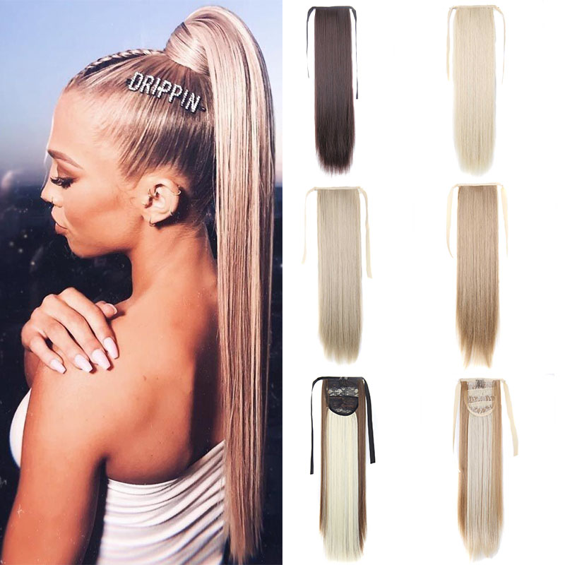Long Straight Drawstring Ponytail Warp Round Hairpiece Ponytail Artificial Hair Tail Synthetic Pony Tail Extension Msglamor