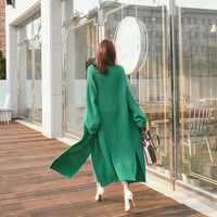 Diwish Sweater Long Cardigan Women Rainbow Korean Thick Wool Sweaters Solid Plus Size Knitted Coats Green Female Tops