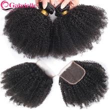 Extensiones de cabello humano brasileño, mechones rizados Afro con cierre, Color Natural, envío gratis