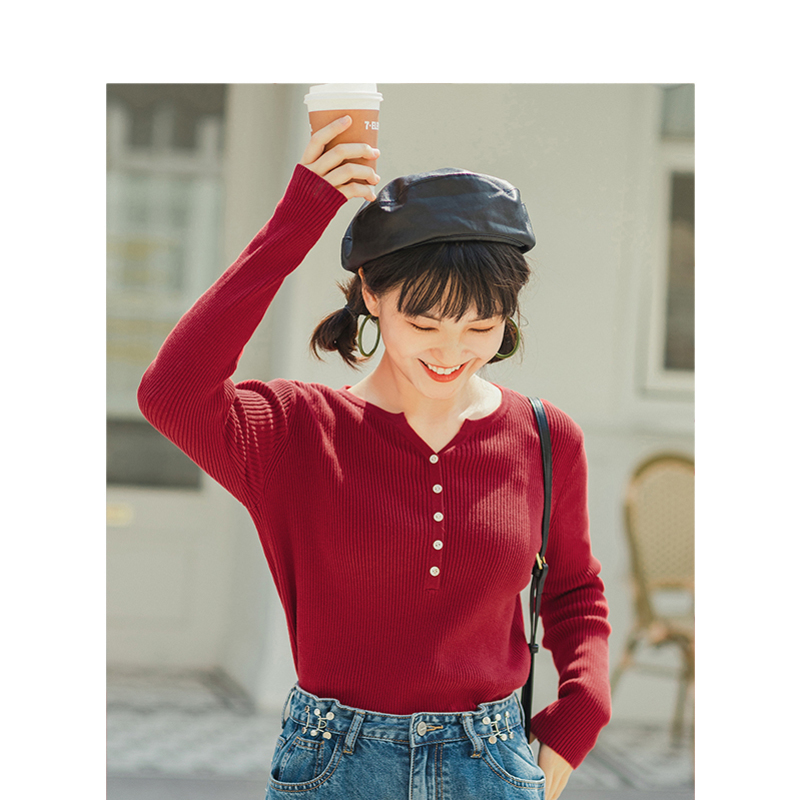 INMAN 2020 Spring New Arrival Minimalism Solid O-neck Slim Women Thin Pullover