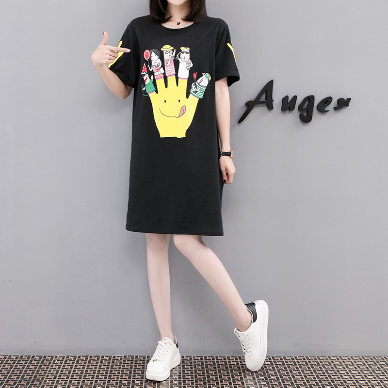 2019 Summer New Products Dress Large Size Dress Fat Mm Slimming Base Skirt Palm Printing Short-sleeved T-shirt Fashion