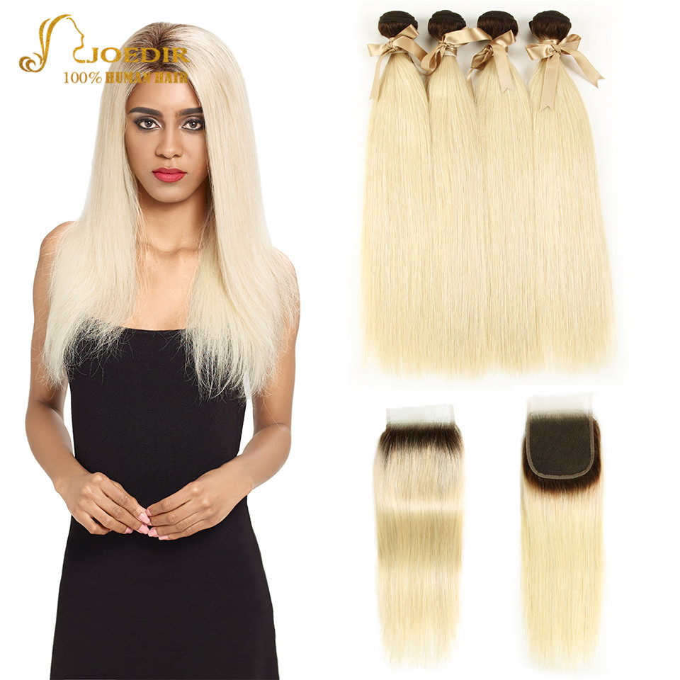 Joedir Hair Peruvian Straight Human Hair Weave Bundles With Closure T4 613 Ombre Honey Blonde Remy Hair Bundles With Closure