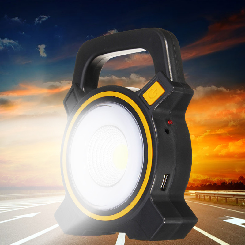 Solar Portable Rechargeable 30W COB LED Portable Flood Light Outdoor Garden Work Spot Lamp USB Charge Spot Lamp Tent Light