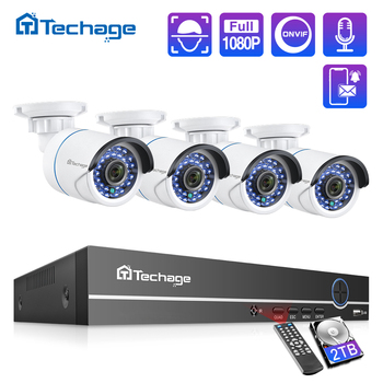 Techage 8CH 1080P POE NVR CCTV System 2MP Audio Microphone IP Camera IR Outdoor Waterproof P2P Video Security Surveillance Set techage h 265 8ch 2mp poe security camera system 1080p poe nvr kit p2p cctv video surveillance outdoor audio record ip camera