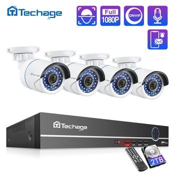 Techage 8CH 1080P POE NVR CCTV System 2MP Audio Microphone IP Camera IR Outdoor Waterproof P2P Video Security Surveillance Set - discount item  68% OFF Video Surveillance