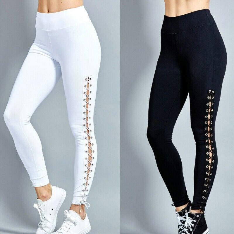 Fashion Women High Waist Leggings Pencil Pants Lace Up Slim Bandage Trousers Gym Fitness Training Track Pants