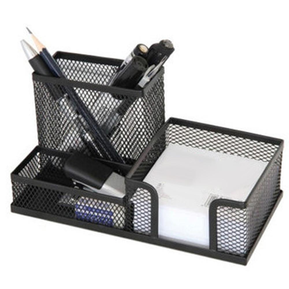 Metal Mesh Desktop Pen Holder Organizer Office Home Stationery Storage Case