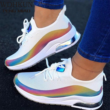 2020 New Sneaker Women Flat Mesh Ladies Lace Up Vulcanized Shoes Casual Breathable Comfort Walking Shoes Female Plus Size 43