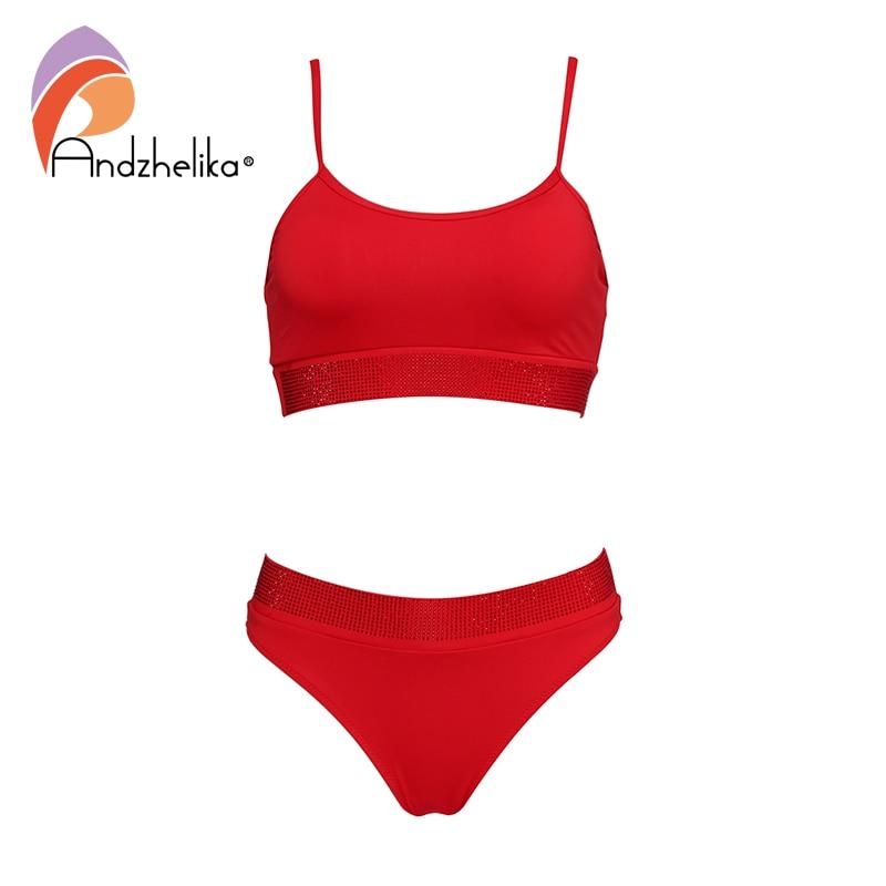 Andzhelika Solid Top Bikini Set Plain Diamond Soft Cup Bikinis Two Pieces Swimwear 2020 Summer Women Sexy Thong Swimsuits