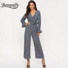 Benuynffy, винтажный принт, v-образный вырез, широкие штанины, комбинезон для женщин, весна, осень, цветочный рисунок, длинный рукав, женские комбинезоны с завышенной талией, с поясом