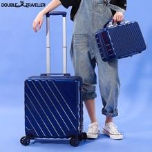 Valise de transport ons pour femmes, roues en ABS + PC, set de bagages de voyage, sac de boîtier de chariot à la mode, sac en or rose pour 18'20