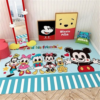 Cartoon Carpet Mickey Minnie Kids Mat Baby Playmat Bedroom Bedside Blanket Living Room Anime Machine Washable Activity Mat