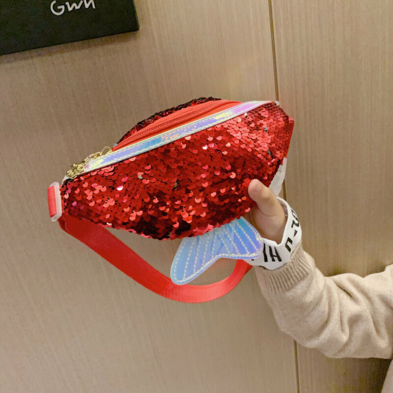 Children Kids Girls Sequin Shoulder Crossbody Bag Cute Mermaid Small Bag Baby Girl Waist Pack