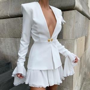 Image 2 - Dressmecb 가을 작은 정장 2 조각 세트 여성 깊은 V 전체 슬리브 정장 탑과 메쉬 미니 드레스 섹시한 설정 Office 레이디 두 조각 세트