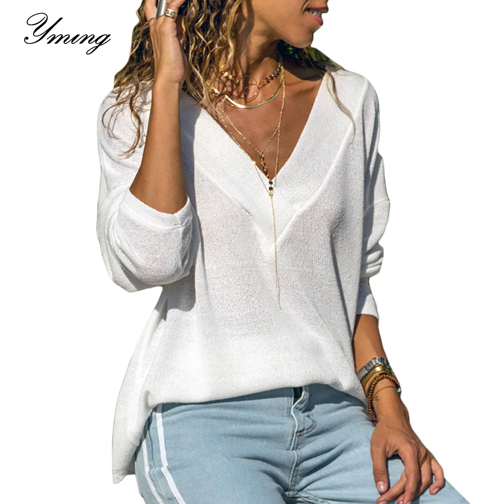 Yming White Knitted Women Blouse Long Sleeve Office Shirt V Neck Casual Ladies Tops Fashion Tunic Blusas Blouses Woman Clothing