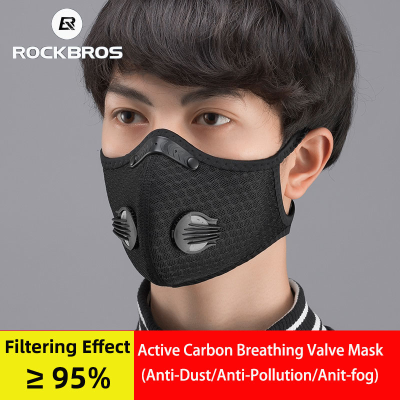 ROCKBROS KN95 Cycling Face Mask With Filter Bicycle Active Carbon Breathable Dustproof Sports Protective Mask Anti-Pollution