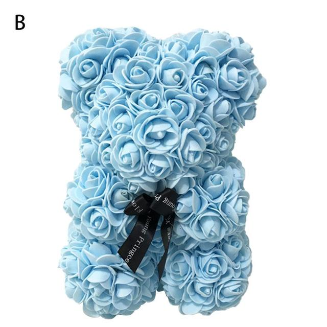 25CM Red Rose Teddy Bear Doll Valentines Day Gift PE Rose Flower Artificial Decoration Birthday Valentines Gift Rose Teddy Bear