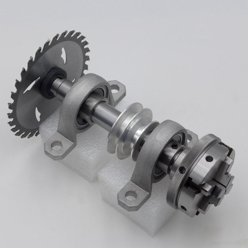 2 Bearing and M14x1mm M14 Spindle Shaft 170 mm x 20 mm with 65mm <font><b>4</b></font> Jaws Lathe Chuck and Cutting Plate <font><b>DIY</b></font> Lathe image