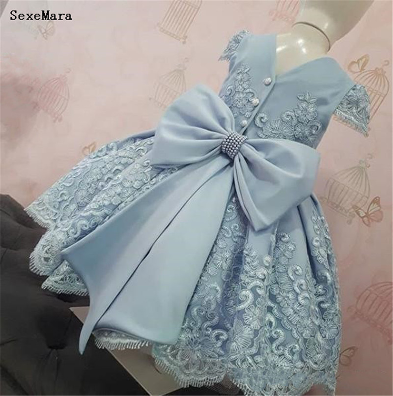 Cheap Lovely   Flower     Girls     Dresses   Ivory Baby Infant Toddler Baptism Clothes Cap Sleeves Lace Tutu Ball Gowns Birthday   Dress
