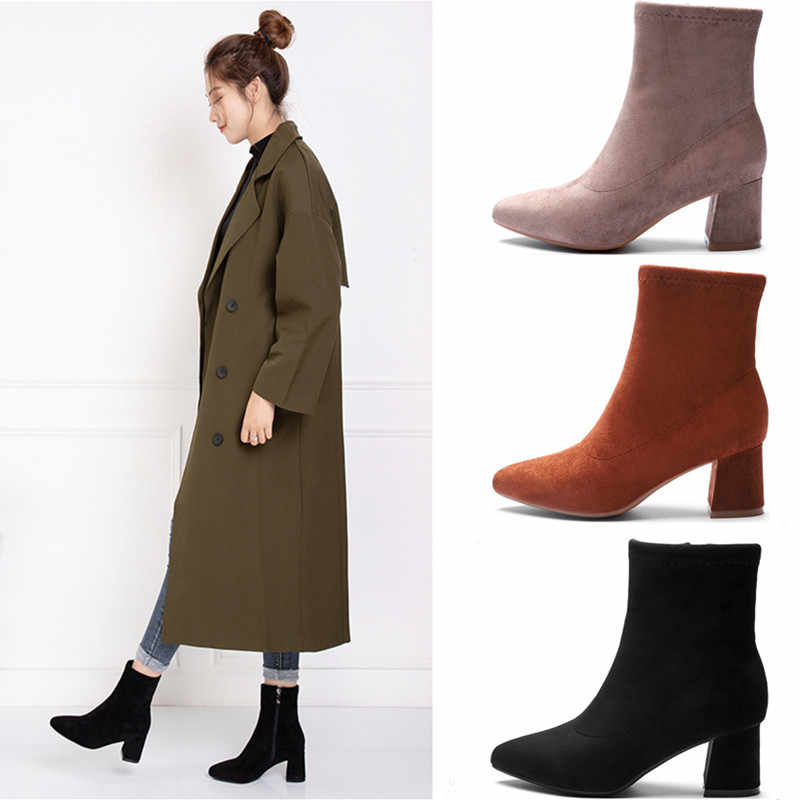 Yeni 2019 kış çizmeler kadın kare yüksek topuklu sivri burun katı akın fermuar Martin ayak bileği kar botları kauçuk platform ayakkabılar kadın