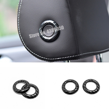 ABS Carbon fibre For Skoda Octavia 2016 2017 2018 Car front Seat Head Pillow Button Cover Trim Car Styling Auto Accessories