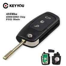 KEYYOU 4D60 3 Botão 433MHZ Chip de Chave Remota Do Carro Para Ford Fusion Foco Mondeo Fiesta Galaxy Automobile FO21 Lâmina auto Flip Chave