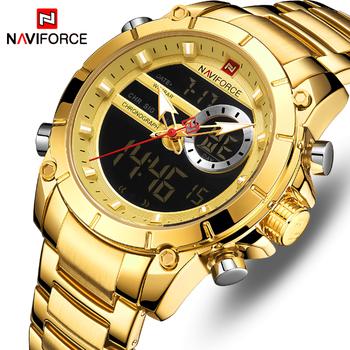 Relogio Masculino męskie zegarki NAVIFORCE Top marka luksusowa moda wojskowe męskie zegarki kwarcowe wodoodporne sportowe męskie zegarki na rękę tanie i dobre opinie Składane zapięcie z bezpieczeństwem 3Bar Podwójny Wyświetlacz QUARTZ STAINLESS STEEL 24cm Hardlex 15 5mm 22mm ROUND