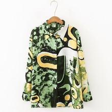 Autumn New Personality Printed Blouse Fashion Temperament Women Jacket Loose Long-sleeved