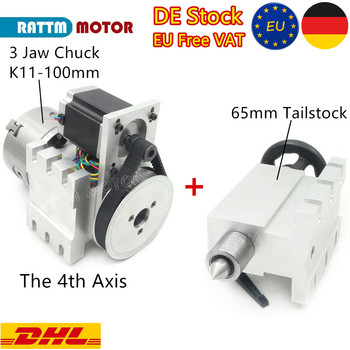 EU Ship!CNC 4th axis A aixs, rotary axis 3 jaw Chuck 100mm  K11-100mm + 65mm Tailstock for Mini CNC router/woodworking engraving cnc tailstock with chuck for rotary axis cnc milling machine tailstock center height 65mm