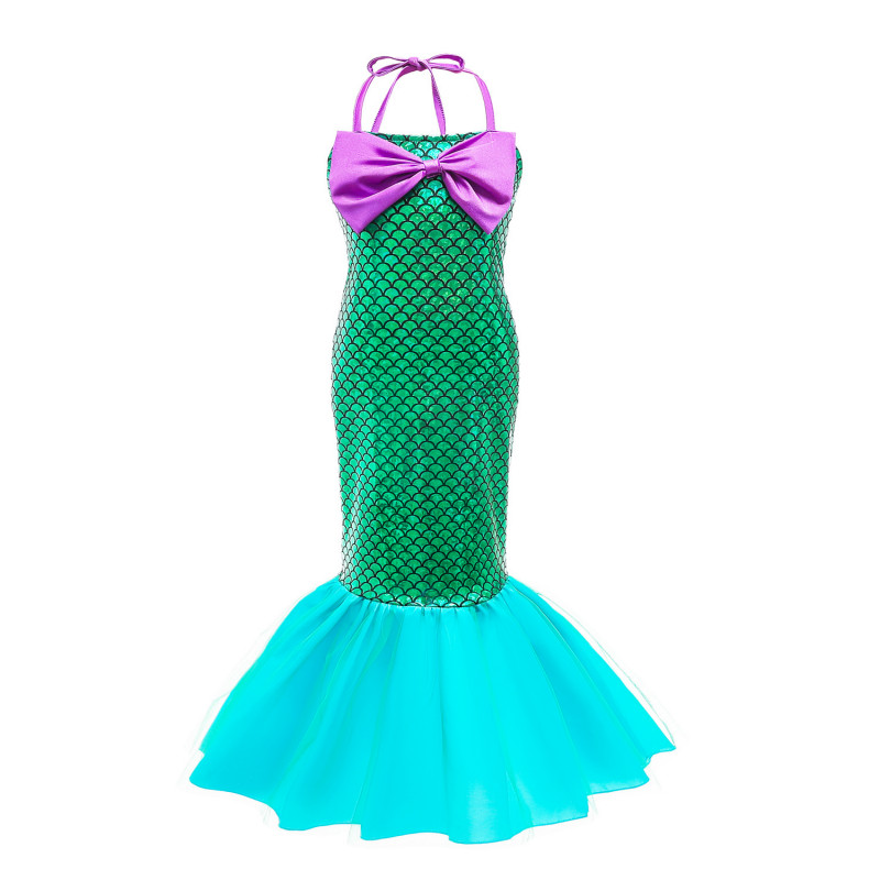 Kids Little Mermaid Princess Dress Costume Children Girls Zeemeerminstaart Birthday Party Kids Cosplay Ariel Dresses C27681CH