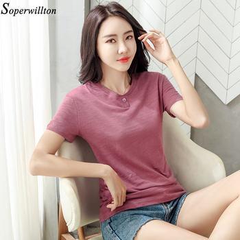 100% Cotton T Shirt Women Long Sleeve Tshirt Female 2020 Spring Autumn Ladies Tops Tee Shirt Femme Plus Size 3XL White Black G79 - short sleeve purple, M