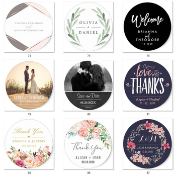 100 Pieces, 3-7CM,transparent/kraft/white stickers,wedding favor stickers,wed decor,wed label,parti parti