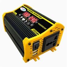 Peaks 4000W 12V do 110V/220V LED wyświetlacz samochodowy Adapter zasilania podwójny transformator napięcia USB zmodyfikowana fala sinusoidalna
