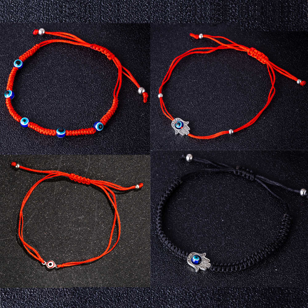 Hand Woven Red Black String Evil Eye Charm Bracelet For Women Men Kids Adjustable Red Thread Bracelet
