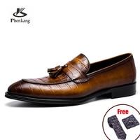 Mens Echtes Leder Krokodil Muster Silp auf Quaste Fahr Weiche Täglichen Pea Loafer Schuhe Sommer Schwarz Formale Kleid Schuhe 2021