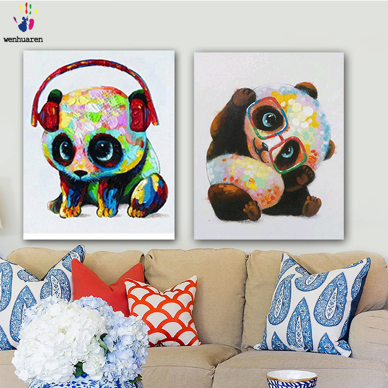 DIY Colorings Pictures By Numbers With Colors Colorful Panda Picture Drawing Painting By Numbers Framed Home