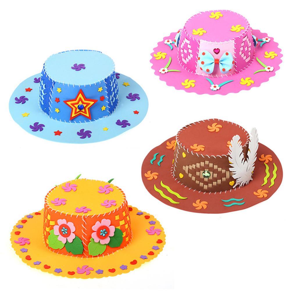 3D Puzzle DIY Handmade EVA Hat Children Art Craft Birthday Gift Craft Kits Birthday Baby Children Educational DIY Hat Craft Toy