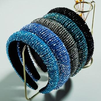 Women Baroque Hair Bands Peacock Blue Solid Crystal Beads Accessories Holder For Girls Velvet Bohemia DIY Headbands