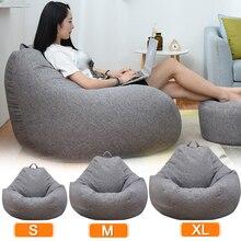 Grande pequeño perezoso sofás cubierta sillas sin relleno de tela de lino sofá asiento de bolsa de frijol PUF Puff sofá Tatami habitación