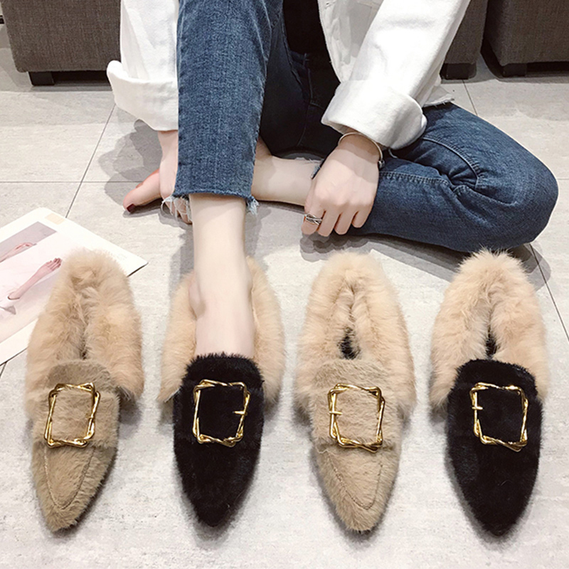 pointed toe mink hair long fur loafers chunky heels metal decoration buckle slip-on moccasins all match furry plush espadrilles 102