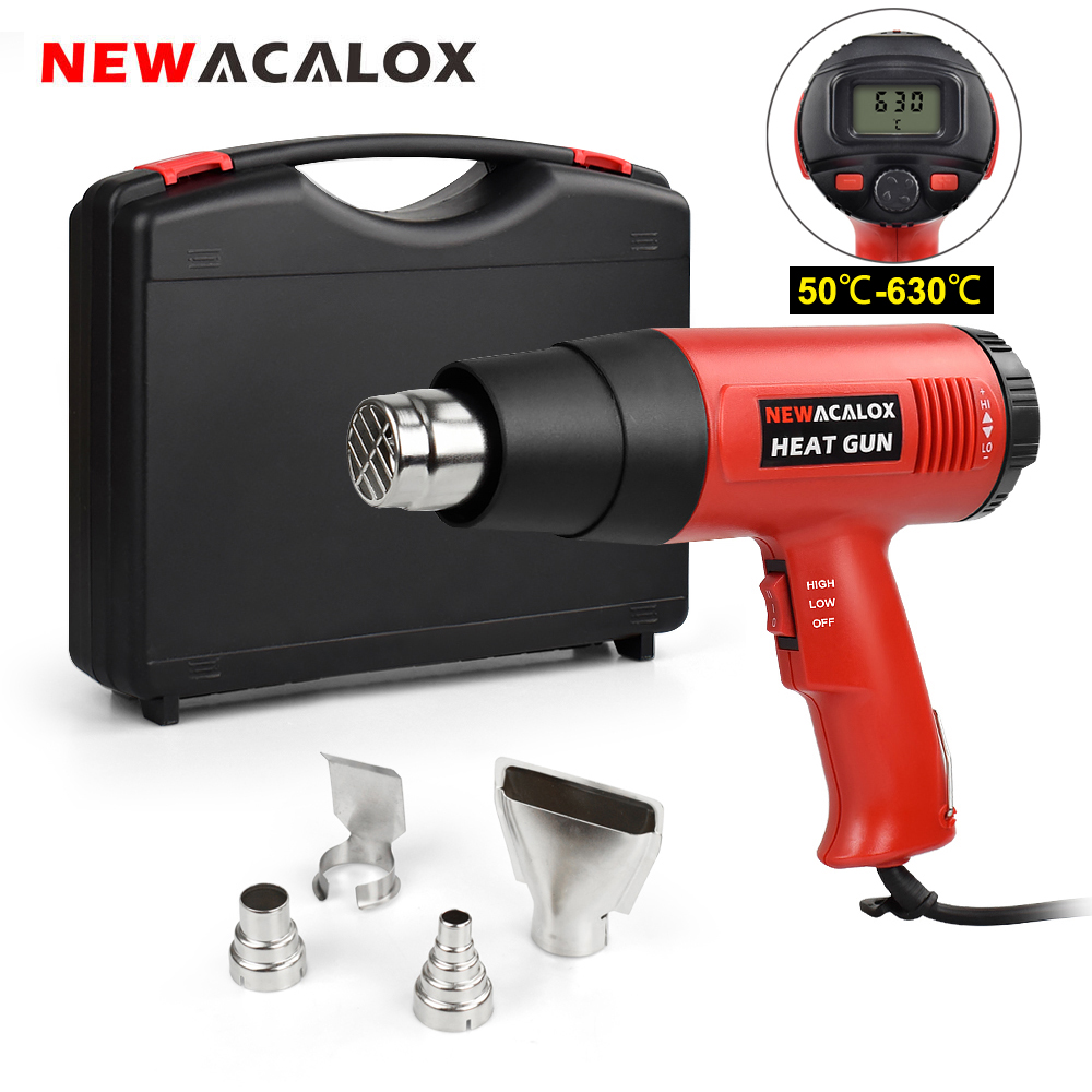 NEWACALOX 220V LCD Heat Gun 2000W Heavy Duty Hot Air Gun Kit Variable Temperature Control with 4 Nozzles for Craft Shrinking PVC