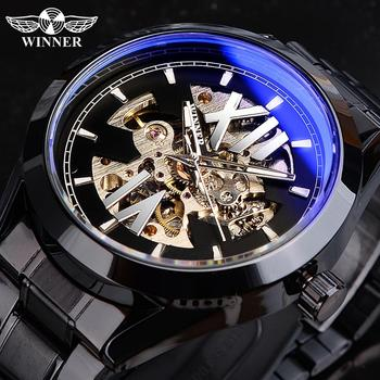 Winner Blue Light Glass Skeleton Dial Automatic Watch Black Luminous Waterproof Stainless Steel Mechanical Watch Montre Homme carvinal mens business tritium luminous waterproof steel watchband automatic self wind mechanical watch gold bezel black dial