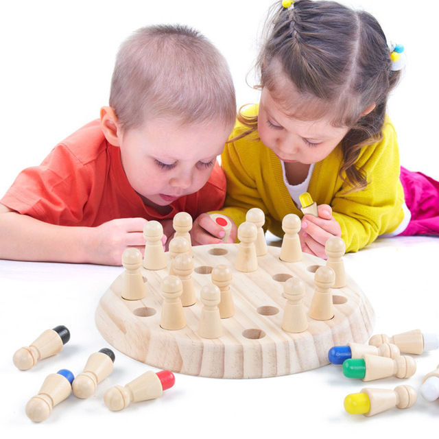 Kids Wooden Toy Puzzles Color Memory Chess Match Game Intellectual Children Party Board Games Baby Educational Learning Toys 3