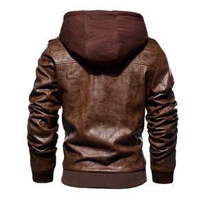 Image 4 - Hommes hiver chaud polaire vestes et manteaux automne hommes chapeau détachable en cuir vestes Outwear moto en cuir veste M 4XL