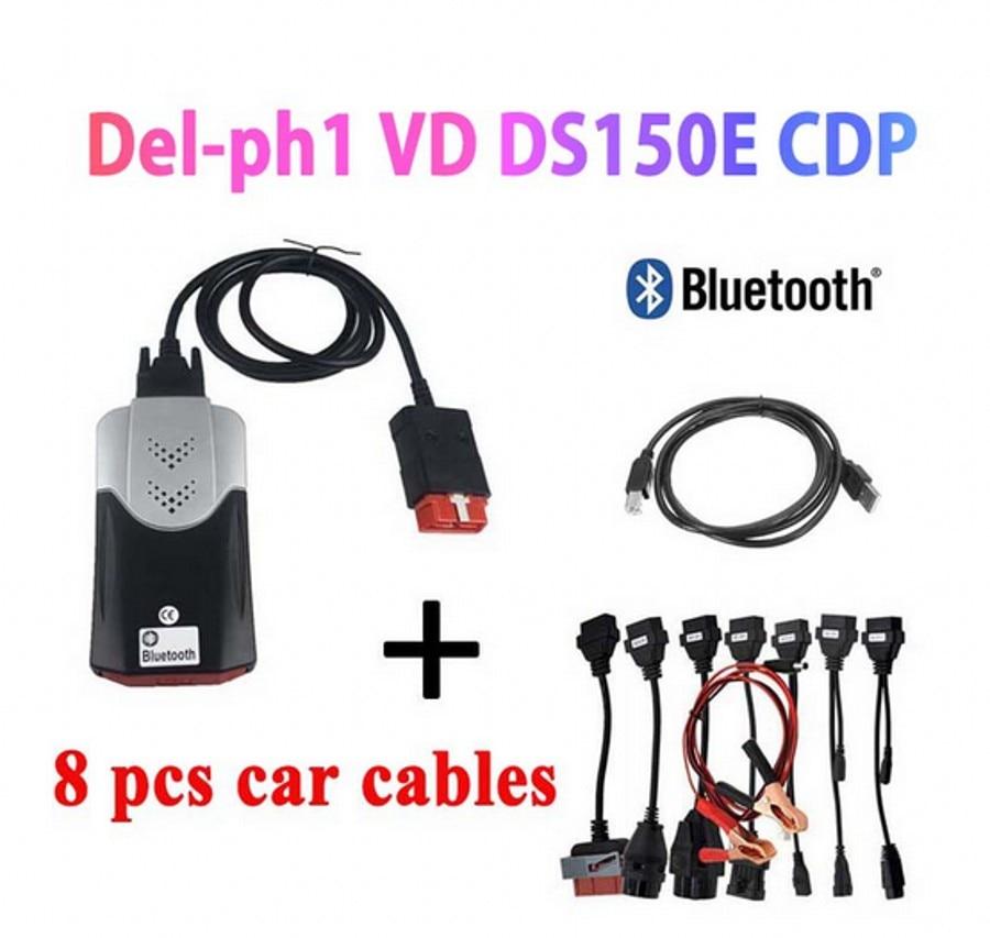 2020 vd tcs cdp Obd Obd2 Scanner Für Delphis vd DS150E cdp 2016.R0 Bluetooth Für Auto Lkw Diagnose Werkzeug + 8 Pcs Auto Kabel
