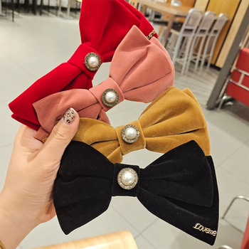 Korea Fashion Velvet Bow Hairpin High Quality Retro Pearl Alloy Top Clip Spring Side Hair Accessories