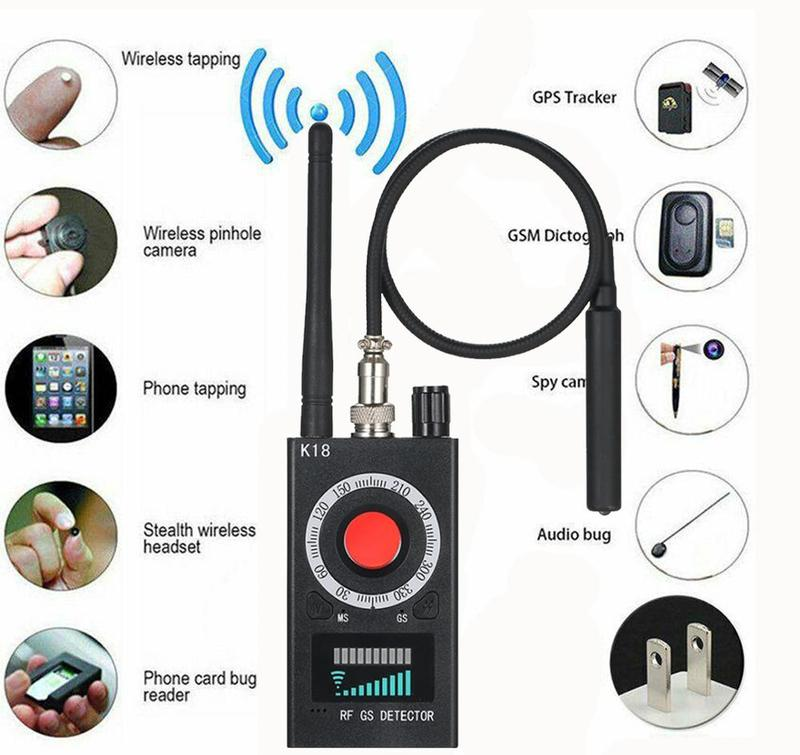 K18 1MHz-6.5GHz Anti-spy Detector Camera GSM Audio Bug Finder GPS Signal Lens RF Tracker Detect Multi-function Wireless Detector