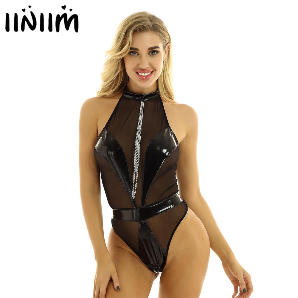 Womens Ladies Body Latex Catsuit Mesh Splice Lingerie Bodycon Backless Sexy Clubwear Zipper Leotard Pole Holographic Bodysuit